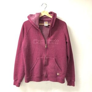 Carhartt large 12/14 logo zip up hoodie sweatshirt